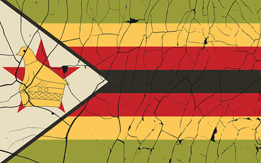 Zimbabwe old flag with fracture