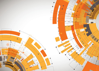 Abstract orange colored technological background.