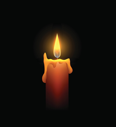 Burning candle in the dark. Vector element for your creativity