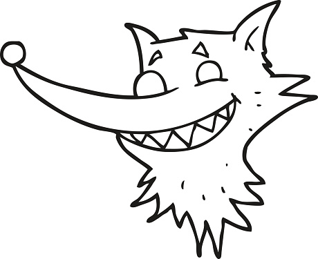 black and white cartoon grinning wolf face