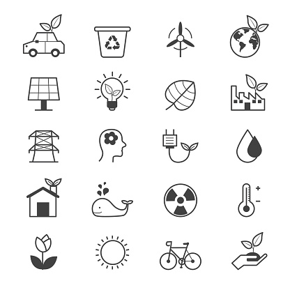 Eco Energy and Environment Icons Line