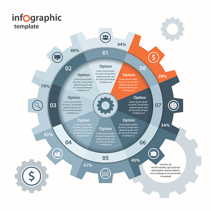 Vector gear circle infographic template for business and industry.