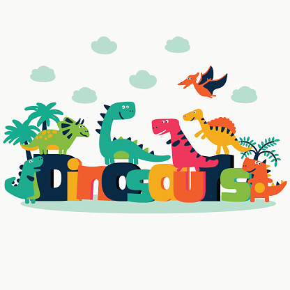 Lovely set with funny dinosaurs on white background