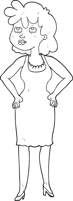 black and white cartoon annoyed woman