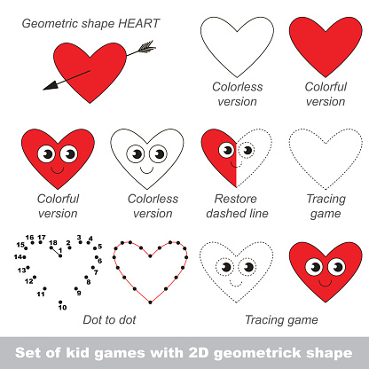 Set of games with shape Heart
