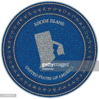 Label with map of rhode island. Denim style.