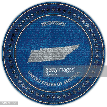 Label with map of tennessee. Denim style.