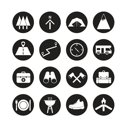 camping icon set,summer camping, outdoor, travel