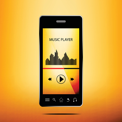 Vector of smartphone with music player app.