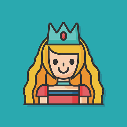 princess cartoon character vector icon