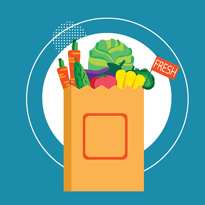 Shopping Bag With Fresh Vegetables Food