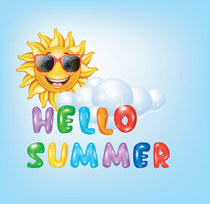 Summer background with cartoon sun character