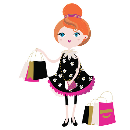 Vector cute fashion girl with shopping bags.