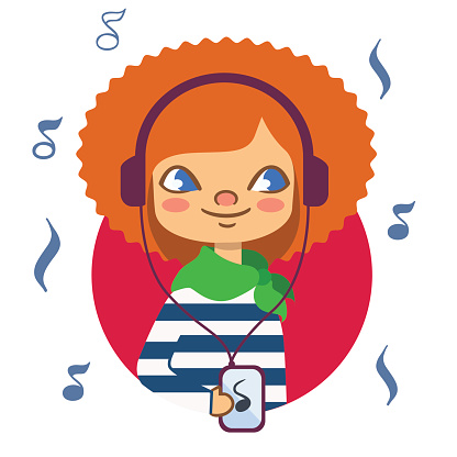 Red-haired girl with headphones listening to music