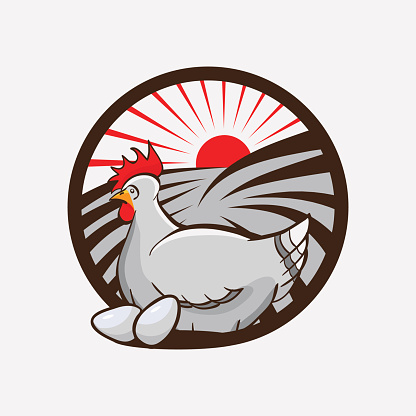 Chicken farm emblem. vector illustration