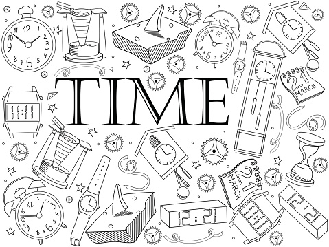 Time coloring book vector illustration