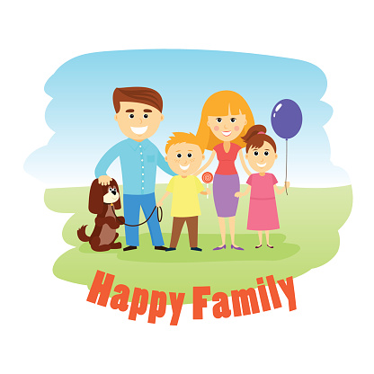 Happy family of four and dog, posing together, vector illustration