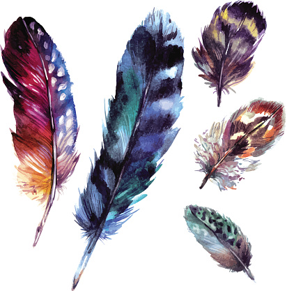 Watercolor Feathers Set