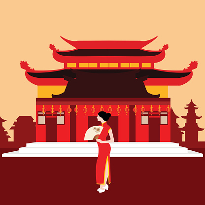 china traditional home house temple red with chinese woman standing