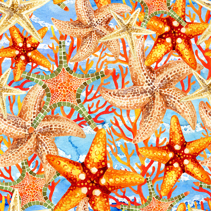 Watercolor starfishes and reefs seamless pattern