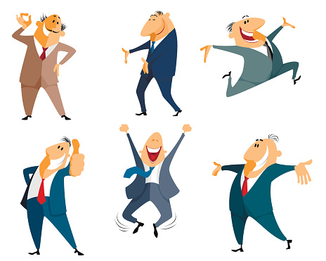 Six businessman jumping