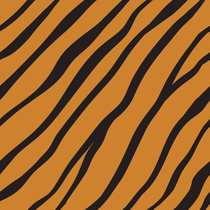 Vector seamless orange tiger fur pattern.