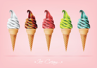 Colorful Ice cream in the cone, Different flavors, Vector