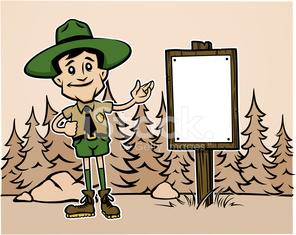 Forest Ranger Cartoon Sepia