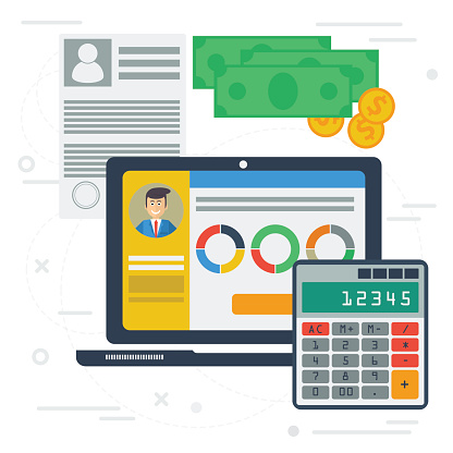 Accounting flat illustration with computer app