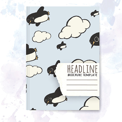 Penguin Template | Notebook Template With Hand Drawn Penguin Stock Photos Vectorhq Com