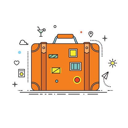 Suitcase with stickers vector lines illustration