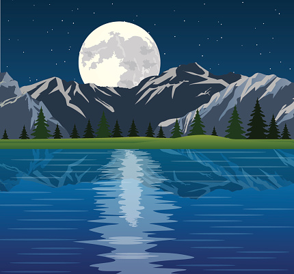 Full moon and group of trees reflected