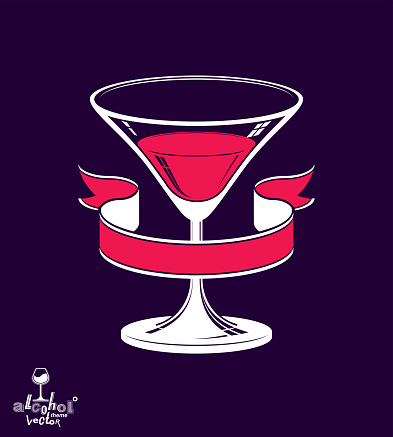 Realistic 3d martini glass with classic simple ribbon, alcohol