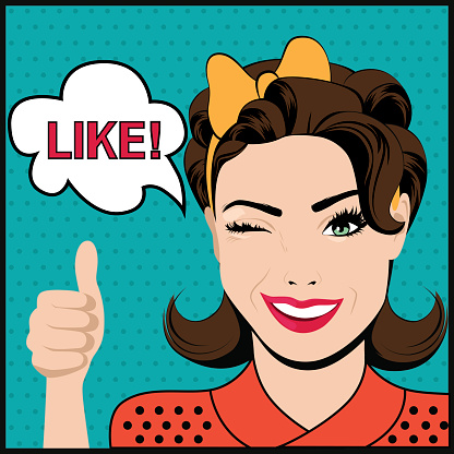 Pop art winking woman with thumbs up gesture