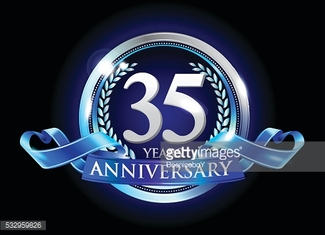 35th anniversary logo with blue ribbon