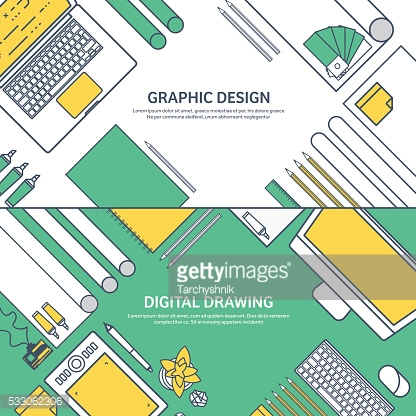 Lined, ouline flat graphic web design. Drawing and painting. Development