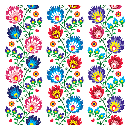 Seamless traditional Polish folk art pattern