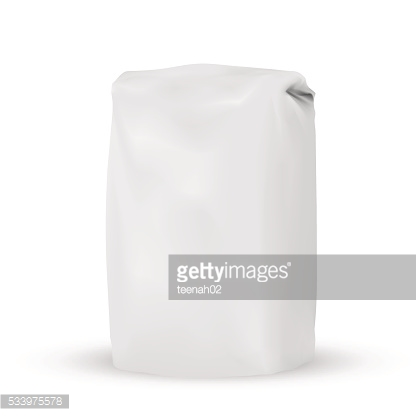 Blank white gray packaging bag for bulk products