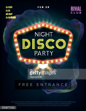 Night disco dance party poster with glowing frame