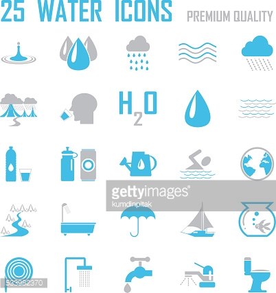 water and river icons set.