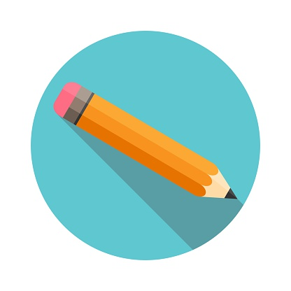 Pencil with eraser. Flat Design. Long shadow. Circle frame. Isolated