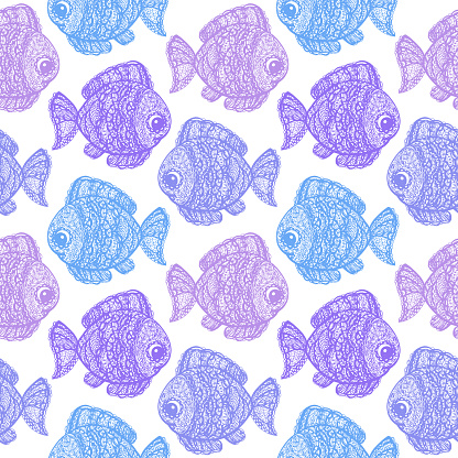Fish in paisley mehndi doodle style.
