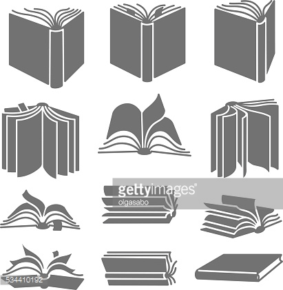 Open books in different positions. Line icons.