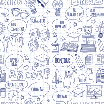 Language school linear doodle icons on notebook paper
