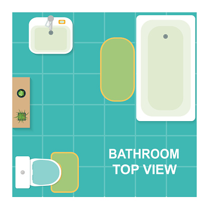 Set of furniture for bathroom. Vector flat illustration