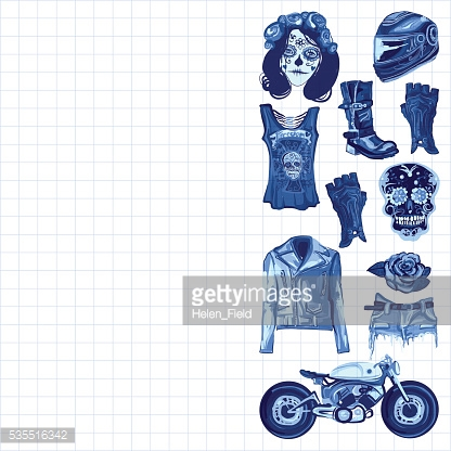 Motorcycle fashion Biker digital watercolor pictures