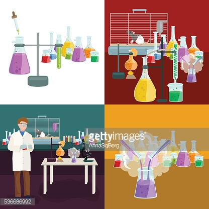 Scientists lab concept with man making research vector illustration