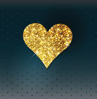 Abstract background with gold glitter heart