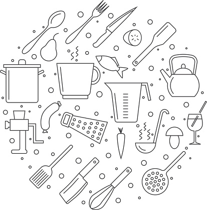 Cooking and kitchen outline icons in circle composition
