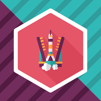 Space rocket flat icon with long shadow,eps10